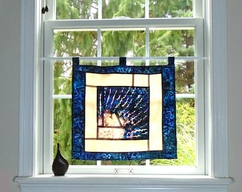 Radiant Sunset ~ Batik Stained Glass Look Fabric Pojagi Window Treatment / dorm / cafe curtain / watercolor curtain / bleached art