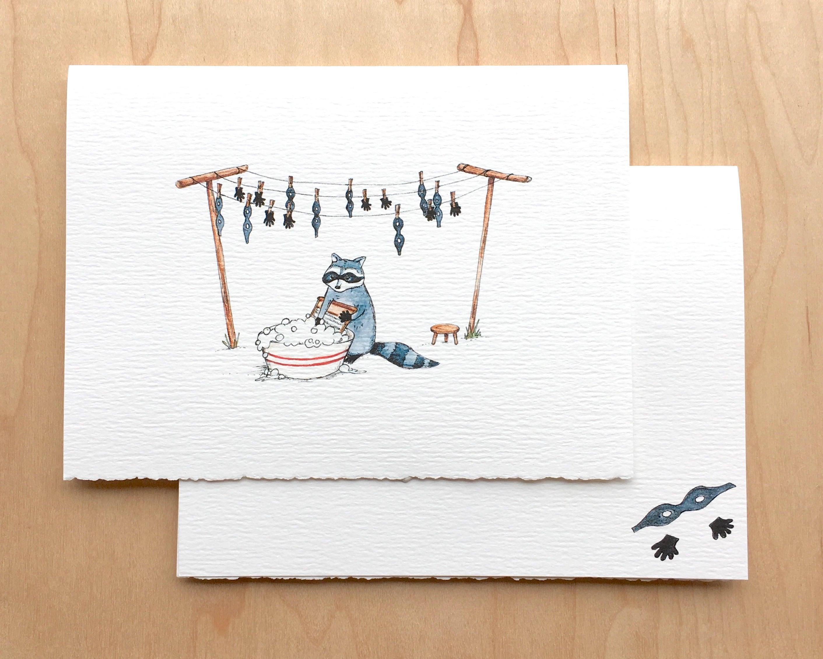 Raccoon Wash Bear Greeting Card