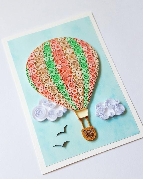 Hot air balloon card birthday card balloon anniversary card like this item bookmarktalkfo Choice Image