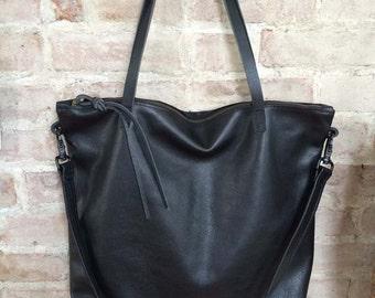 Large black leather Bag - Large zipper tote - Leather Laptop bag - Black cross body tote - boho bag - crossbody bag- Sale