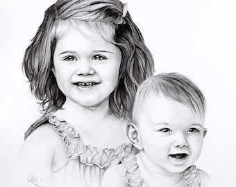 Pencil Portrait Custom Art ~ Hand Drawn Personal Artwork ~ Two People Head and Shoulders 16x16 ~ Black and White ~ FREE SHIPPING