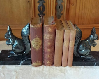 Art Deco bookends with squirrels