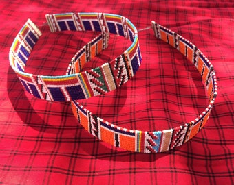 Necklace Skisa Maasai Masai red blue striped big bright colourful authentic fair trade handmade charity African tribal Kenya