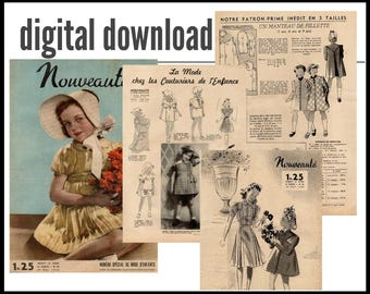 Digital 1940 French magazine with children fashion illustrations