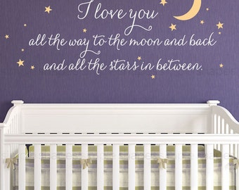 I Love You All The Way Lettering Wall Decal, Wall Words