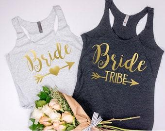 Bachelorette Party tanks/ Bridal Party Shirts/ Bachelorette Shirts/ Bride Tribe/ Bride Tribe Tanks/ Gold/ Bride Shirt/ Bridesmaid Gift