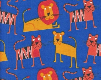SALE 1/2 Yard Royal Blue Jungle Party Lions Tigers Robert Kaufman Fabric Free Shipping