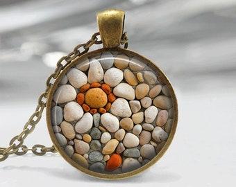 Zen Stones Necklace Glass Tile Necklace Glass Tile Jewelry Zen Jewelry Brass Necklace Brass Jewelry Flower Jewelry Flower Necklace