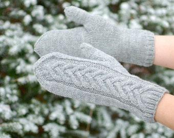 Cable knit braided mittens gray wool Christmas gift - Sale of Ready to Ship eco-friendly gloves