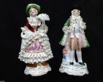 Lot 2 Occupied Japan WWII Era Superb Baroque Porcelain Figurines Amazing Details!