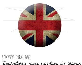 Cabochon 25 mm uk flag fancy English vintage ref 1458