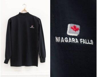 90s Mock Neck Top Navy Mock Turtleneck Top Womens Medium High Neck Jersey Mens Small Dark Blue Long Sleeve Tee Niagara Falls Mock Neck Top