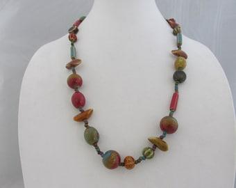 Ceramic Beads, Bead Necklace, Multi Color Necklace, Ceramic Bead Necklace