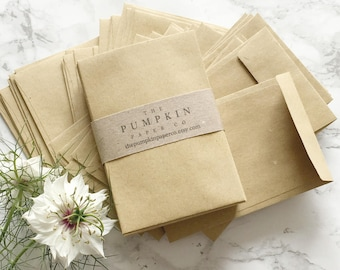 "50 Seed Envelopes Kraft Wedding Favor Envelopes Small Manilla Envelopes Seed Packets Coin Envelopes 3.7/8x2.5/8"" 98x67mm approx"