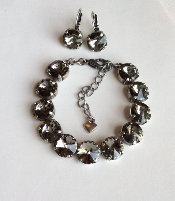 Swarovski Crystal 12MM Bracelet & Earrings  - Designer Inspired -  Radiant Black Diamond - Classy and Beautiful -  SALE -FREE SHIPPING