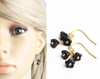 14K gold black earrings black jewelry wedding gift wife black gift bridesmaids earrings gift flower earrings dangles gift K287