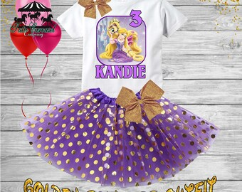 3rd Birthday Tutu Outfit, Rapunzel Birthday Outfit, Birthday shirt, Tutu Set (gt140)