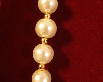 Classic, Evening, Party Wear Faux Pearl with Golden Ball Accent Necklace and Earring Set - F003