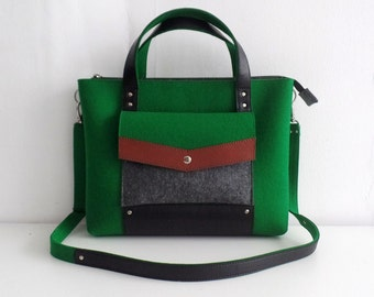 Green Gray Brown Black Felt Leather Handbag