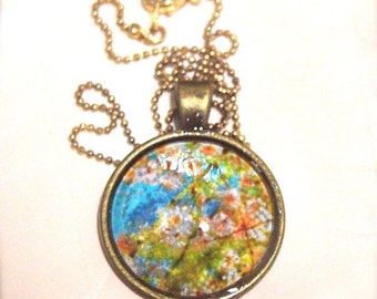 Beautiful Blue Pendant Necklace of Japanese Cherry Blossoms, vintage antique jewellery, sakura flower blooms, floral accessory, handcrafted