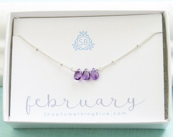 February Birthday Gift • Amethyst Necklace • Satellite Chain • Amethyst Birthstone • Purple Teardrop • Dark Purple Briolette • Ultra Violet