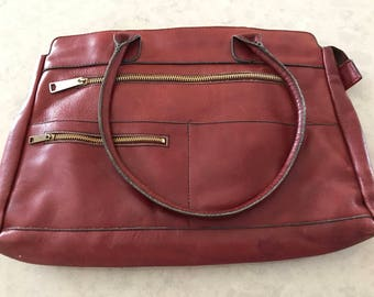 Burgundy Leather Portfolio Attache Tote Purse Vintage