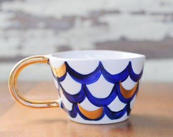 MERMAID CUP - Hand Painted Stoneware - Blue & Gold Scales
