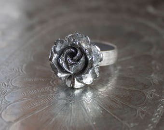 Silver Rose Adjustable Ring