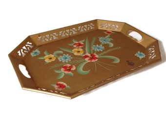 Vintage Tole Tray Metal Tray Gold Cutout Metal Hand Painted Floral Tray Tole Tray Toleware Cottage Chic-Home Decor-Large Serving Tray