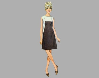 Misses A-line dress pattern Simplicity 7535 Bust 36 Stylish front seam interest Round neck Short sleeve / sleeveless Complete Summer dress
