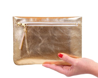 "Flat clutch ""Feli"" gold//Genuine Leather"