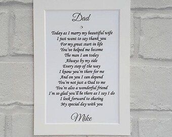 Father of the Groom gift from Son, Wedding gift from Groom to Dad, Unframed print for Dad from son,  Wedding Day gifts to parents