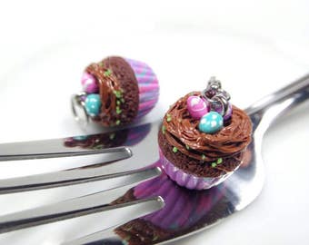 Nest Cupcake Charm, Easter Jewelry, Miniature Cupcake Necklace, Easter Cupcake Earrings, Chocolate Cupcake Necklace, Food Charms,