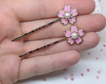 Bridal hair pin - cherry blossom - UV resin
