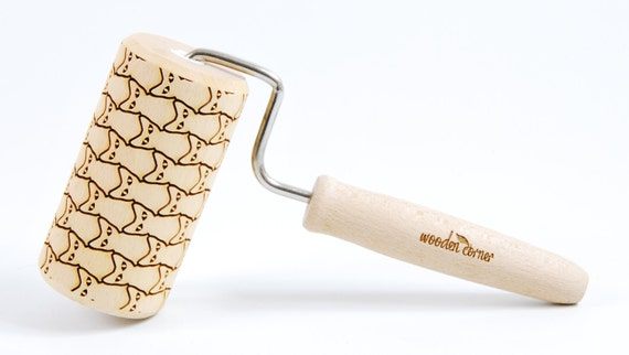 CATS No. 2 One handle - Embossing rolling pin, engraved rolling pin Art Deco