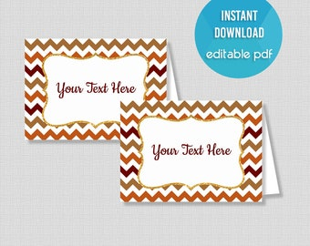 EDITABLE Food Tent Cards, Thanksgiving Chevron Food Labels, Editable Buffet Signs, Place Cards, INSTANT DOWNLOAD