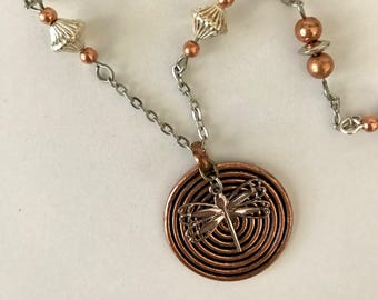 Dragonfly and Copper Spiral Necklace