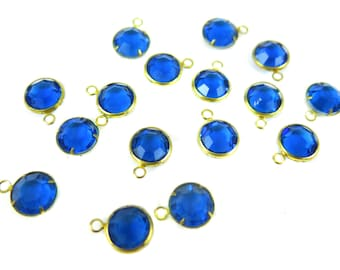 Vintage Capri Blue Swarovski Channel Charms (12mm) (6X) (S503)