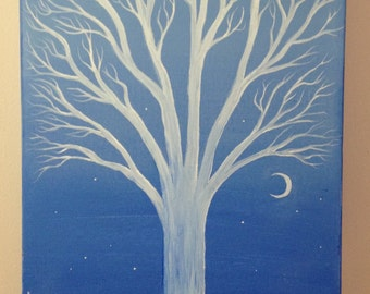 "Art White Tree Painting Original Acrylic on Gallery Wrap Canvas 12"" x 24"" x 2"" 3/4"