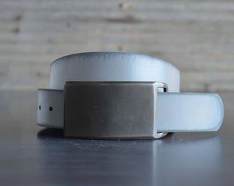 Gunmetal FOUNDATION SET Belt Buckle & Leather Belt by Fosterweld