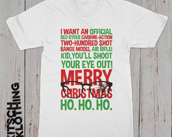 Christmas Story T-shirt | Christmas Story Quotes Shirt | You'll Shoot your eye out tee |  Plus Size Too | AR-131
