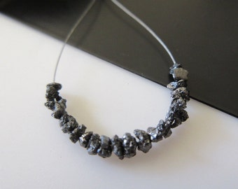 2.00CTW/10pcs Approx Tiny 3mm To 4mm Raw Rough Uncut Black Diamonds, Natural Black Uncut Diamond Beads Loose, DDS539/7