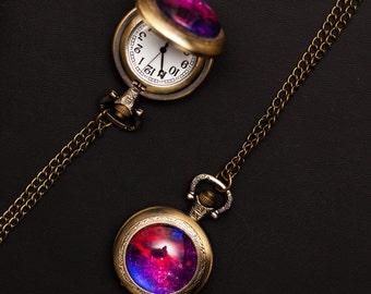 Nebula Pocket Watch no. 11, Space Jewelry, Nebula Jewelry, Cosmic Jewelry, Galaxy Jewelry, Solar System