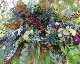 dried flower bouquet, thistle bouquet, navy blue and burgundy bridal bouquet, woodland bouquet, blue bridal bouquet, woodland wedding, elope