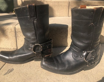 Black leather motorcycle boots