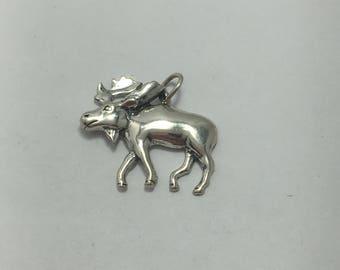 "Silver moose charm, sterling silver, moose pendant, Shubes, dakota west designs inc 3/4"" long"