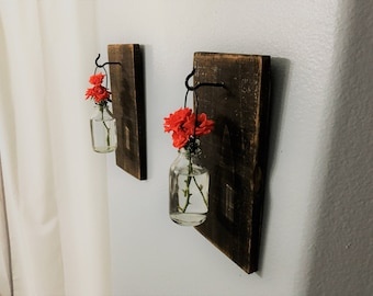 Hanging Glass Flower Vase (set of 2) Mounted to Reclaimed Wood