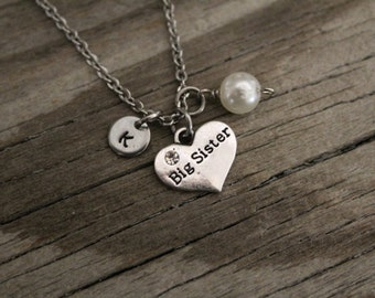Big Sister Necklace - Big Sister Gift - New Big Sister - Baby Announcement - I/B