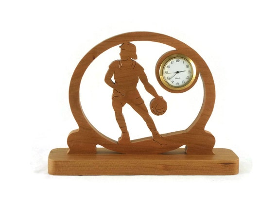 Basketball Desk Clock Handcrafted From Cherry Wood NFB-1
