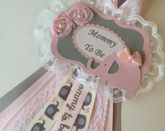 Grey and pink baby shower corsage/Grey and pink elephant baby shower corsage/Mommy to be corsage/Elephant baby shower corsage